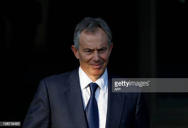 Former British Prime Minister Tony Blair leaves the Iraq Inquiry at the Queen Elizabeth II Conference Centre in central London, on January 21, 2011....