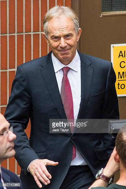 Former British Prime Minister Tony Blair leaves Westminster Tower on June 24 2016 in London United Kingdom The result from the historic EU referendum...