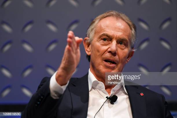 Former British Prime Minister Tony Blair on Forum Stage during day two of Web Summit 2018 at the Altice Arena on November 7 2018 in Lisbon Portugal...