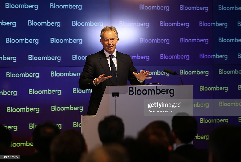 Former British Prime Minister Tony Blair speaks at Bloomberg on April 23, 2014 in London, England. In his speech to financial workers Mr Blair warned of the need for the west to focus on the threat of Islamic extremism.