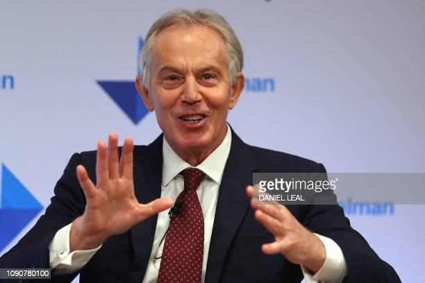 Former British Prime Minister Tony Blair speaks at the launch of the US Public Relations company Edelman's trust barometer survey on January 29 2019...