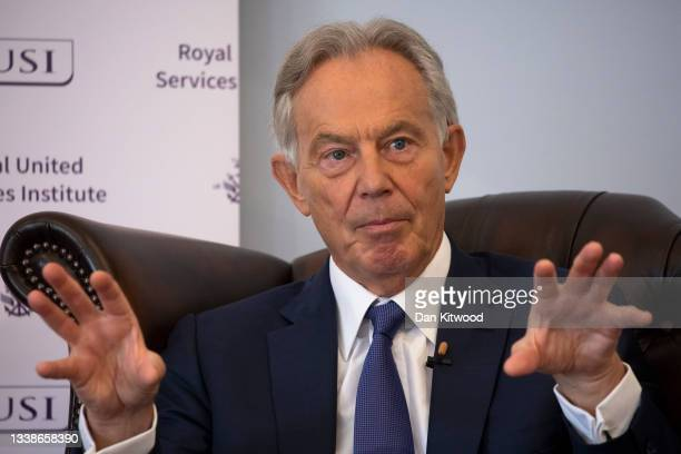Former British Prime Minister Tony Blair speaks at the Royal United Services Institute , a defence think tank, on September 6, 2021 in London,...