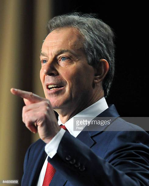 Former British Prime Minister Tony Blair speaks during the National Prayer Breakfast February 5 2009 in Washington DC According to reports US...