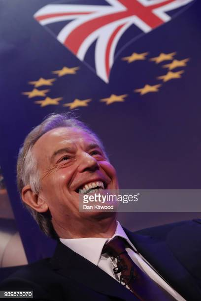 Former British Prime Minister Tony Blair takes part in a QA during the 'UK In A Changing Europe Conference' at the QEII Centre on March 29 2018 in...