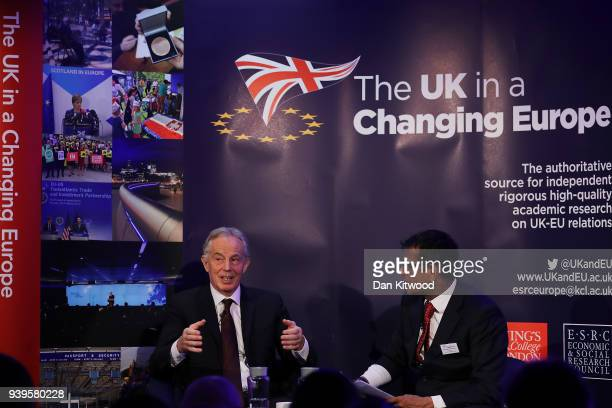 Former British Prime Minister Tony Blair takes part in a QA with Anand Menon Professor of European Politics and Foreign Affairs at King's College...