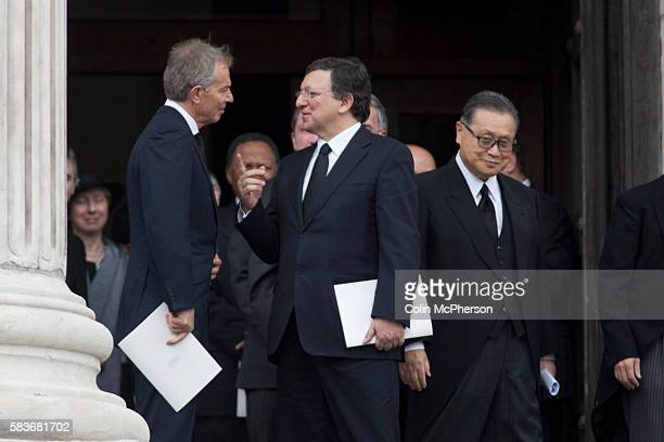 Former British Prime Minister Tony Blair talking to European Commission President Jose Manuel Barroso on the steps of St Paul's following the funeral...