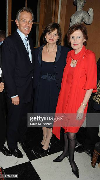 Former British Prime Minister Tony Blair wife Cherie Blair and Marjorie Wallace attend a charity Gala art and music recital event in aid of mental...