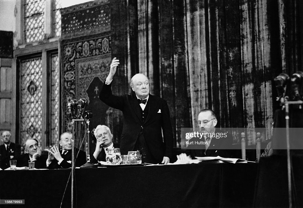 Former British Prime Minister Winston Churchill (1874 - 1965), addressing the Congress of Europe on the issue of closer European union, at the Hague, Netherlands, May 1948. Original publication: Picture Post - 4548 - Is Europe Nearer Union? - pub. 29th May 1948