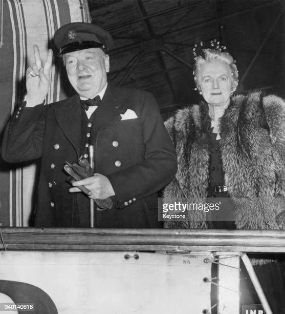Former British Prime Minister Winston Churchill and his wife Clementine Churchill board the 'Queen Mary' for their return trip to England after a...