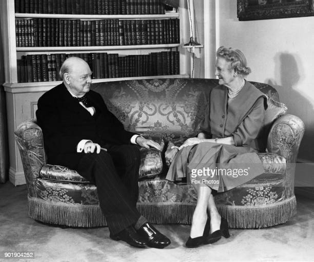 Former British Prime Minister Winston Churchill and Lady Churchill pose for his 82nd birthday portrait at their home in Hyde Park Gate London 30th...