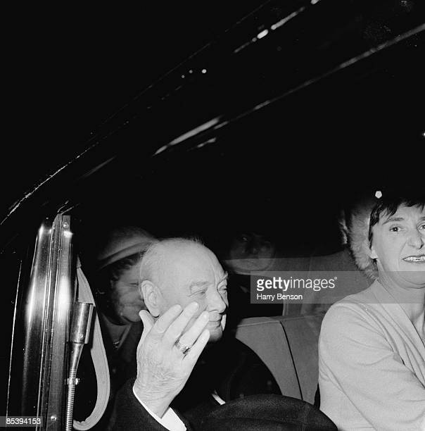 Former British Prime Minister Winston Churchill arriving for a visit to Harrow School Middlesex 10th November 1960 Churchill was a pupil at the...