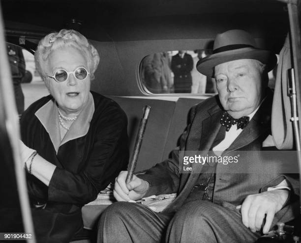 Former British Prime Minister Winston Churchill is met by his wife Clementine at London Airport after a visit to the United States 11th May 1959...