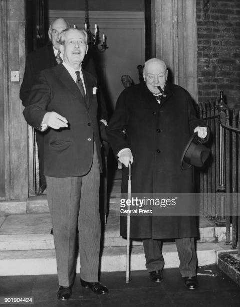 Former British Prime Minister Winston Churchill leaves Admiralty House in London after lunch with the current Prime Minister Harold Macmillan 8th...