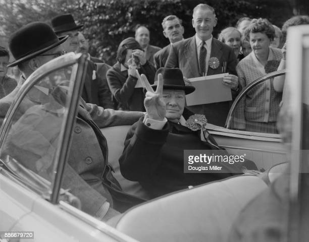 Former British Prime Minister Winston Churchill tours his constituency of Woodford in Essex 8th October 1959
