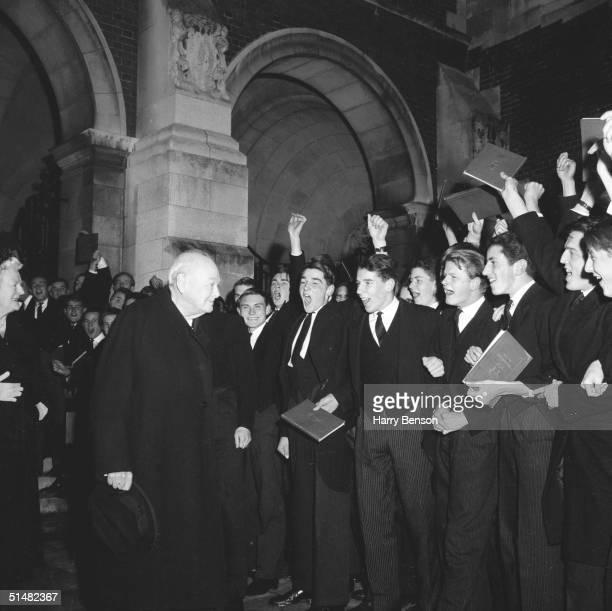 Former British Prime Minister Winston Churchill visits Harrow School Middlesex 10th November 1960