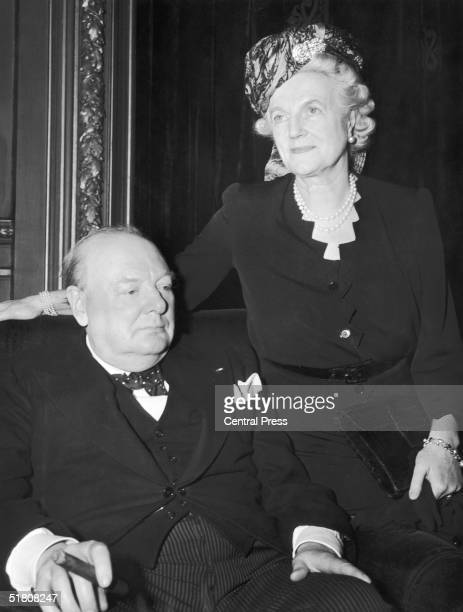 Former British Prime Minister Winston Churchill with his wife Clementine at a luncheon in his honour at the Metropolitan Club in New York 15th March...