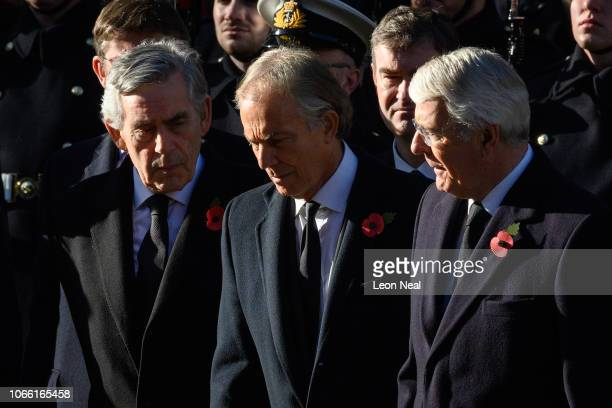 Former British Prime Ministers Gordon Brown Tony Blair and John Major during the annual Remembrance Sunday memorial at the Cenotaph on Whitehall on...