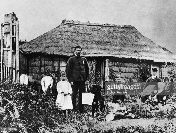 A former British soldier and his family at their home at Taranaki in the west of New Zealand's North Island circa 1860 Many British soldiers came to...