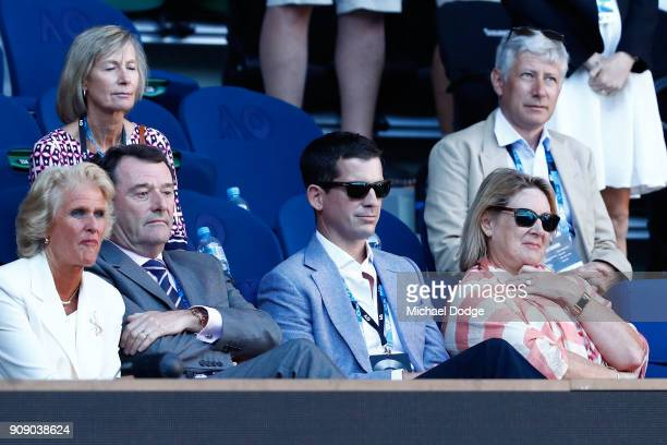 Former British tennis player Tim Henman watches Kyle Edmund of Great Britain win his quarterfinal match against Grigor Dimitrov of Bulgaria on day...