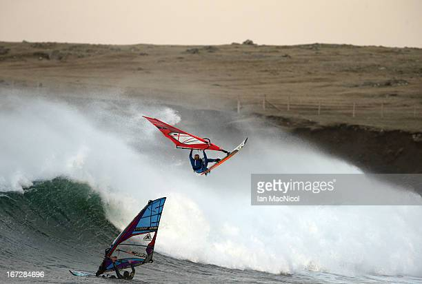Former British windsurfing Champion Timo Mullen surfs on the Isle of Lewis in the Outer Hebrides after weather forecasters predicted epic windsurfing...