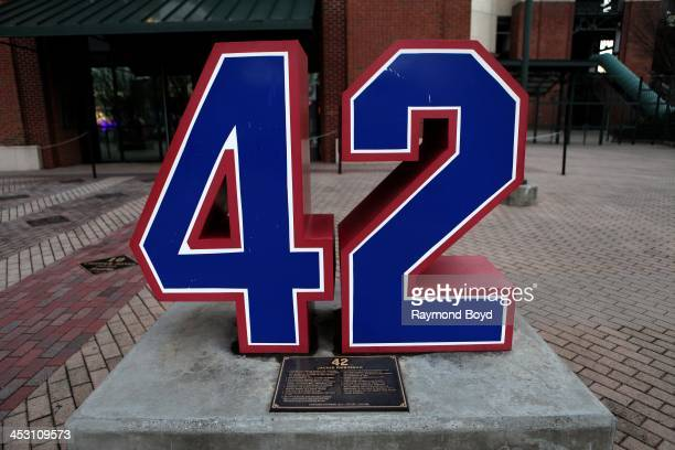 Former Brooklyn Dodgers infielder Jackie Robinson's retired number '42' sits along 'Monument Grove' at Turner Field home of the Atlanta Braves...