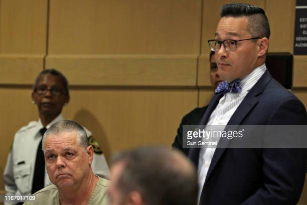 Former Broward Sheriff's Office deputy Scot Peterson and his defense attorney Joseph DiRuzzo are shown during a hearing at the Broward County...