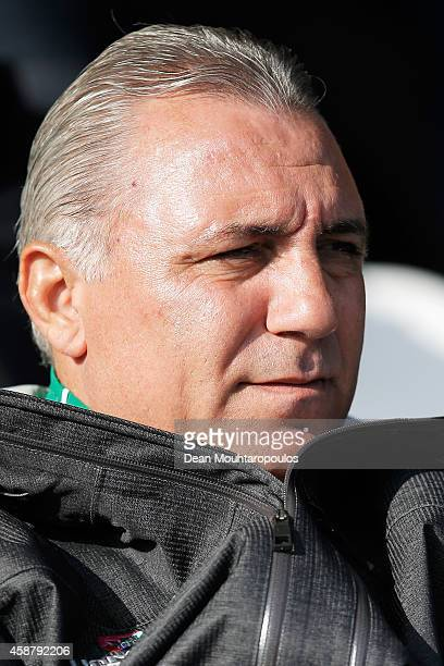 Former Bulgarian footballer Hristo Stoichkov watches the action during the Netherlands Training session held at the Quick Boys Sportpark Nieuw Zuid...
