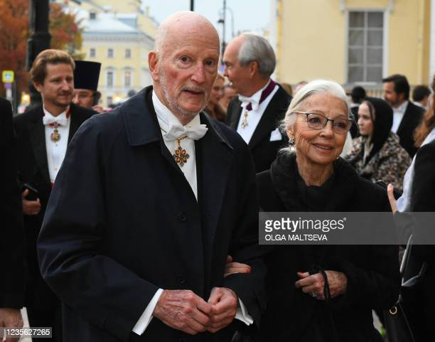 Former Bulgarian King Simeon II and his wife Margarita arrive to attend a dinner during the wedding of Grand Duke George Mikhailovich Romanov, and...