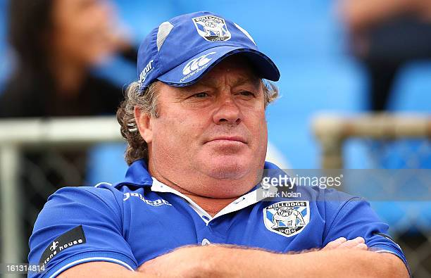 Former Bulldogs great Terry Lamb watches on during the NRL trial match between the Canterbury Bulldogs and the Newtown Jets at Belmore Sports Ground...