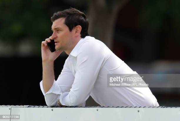 Former Bulldogs Saint and Kangaroos player Farren Ray looks on during a North Melbourne Kangaroos Training Session at Arden Street Ground on January...