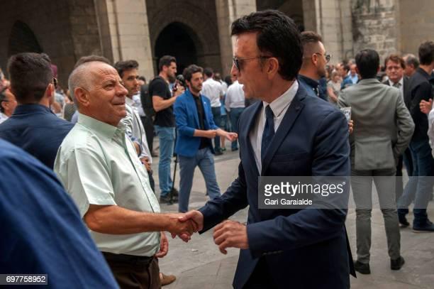 Former Bullfighter Ortega Cano attends the funeral of bullfighter Ivan Fandino on June 19 2017 in Orduna Spain