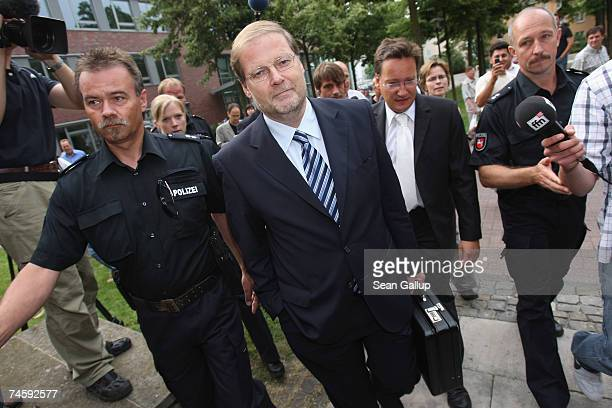 Former Bundestag parliamentarian HansJuergen Uhl arrives for his trial on charges of bribery on June 14 2007 in Wolfsburg Germany Uhl is charged with...