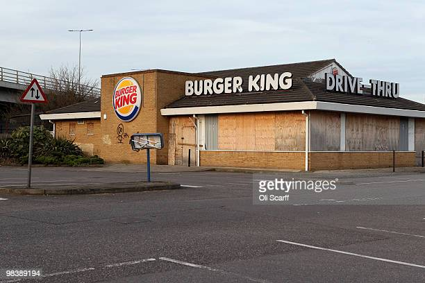 A former Burger King restaurant stands boardedup in the borough of Barking and Dagenham on April 10 2010 in London England Government figures from...