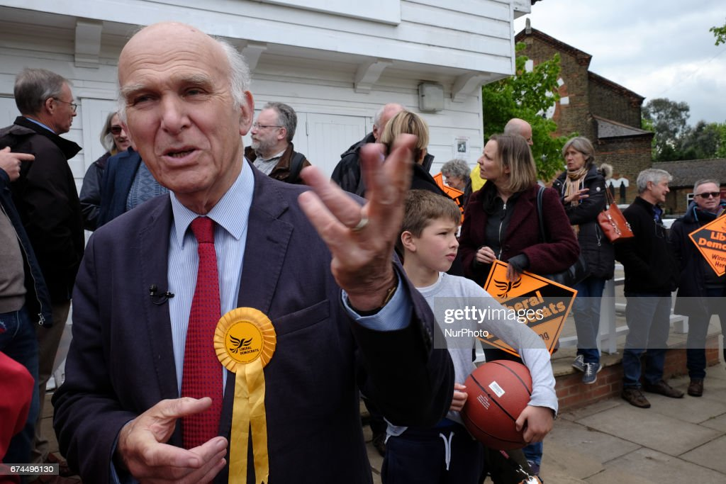 Former buseness secrecy, Vince Cable attends a press rally in Twickenham, West London, on April 28, 2017 where he is standing for MP. Cable warned of economic uncertainty following Brexit.
