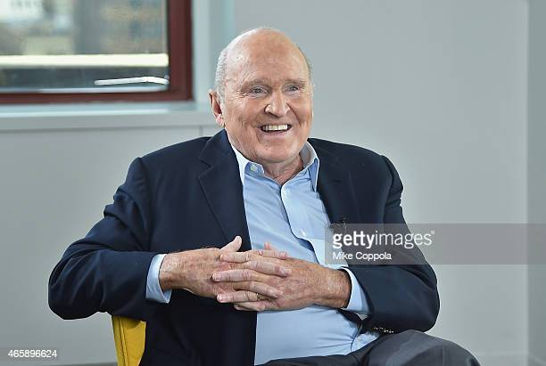 Former business executive author and chemical engineer Jack Welch is interviewed by LinkedIn Executive Editor Dan Roth at LinkedIn Studios on March...