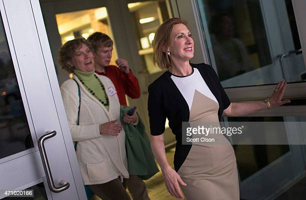 Former business executive Carly Fiorina leaves Clear Creek Amana High School after speaking to guests at the Johnson County Republicans Spaghetti...