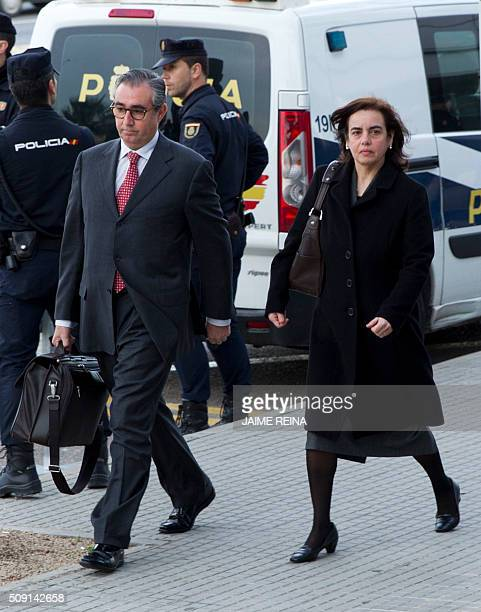 Former business partner of Inaki Urdangarin Diego Torres his wife Ana Maria Tejeiro arrive for a hearing held in the courtroom at the Balearic School...