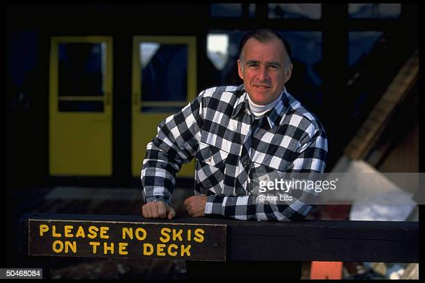 Former CA Gov Jerry Brown relaxing near ski slope during campaign for 1992 Democratic presidential nomination