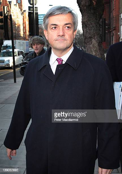 Former Cabinet Minister Chris Huhne arrives at Westminster Magistrates Court on February 16 2012 in London England Mr Huhne and his former wife Vicky...