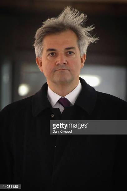 Former Cabinet Minister Chris Huhne leaves Southwark Crown Court after a pretrial hearing on March 2 2012 in London England Mr Huhne and his former...