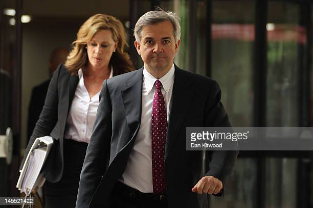 Former Cabinet Minister Chris Huhne leaves Southwark Crown Court after a pretrial hearing on June 1 2012 in London England Mr Huhne and his former...