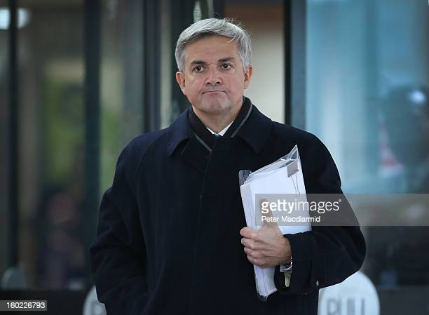 Former Cabinet Minister Chris Huhne leaves Southwark Crown Court on January 28 2013 in London England Huhne and his exwife Vicky Pryce are to stand...