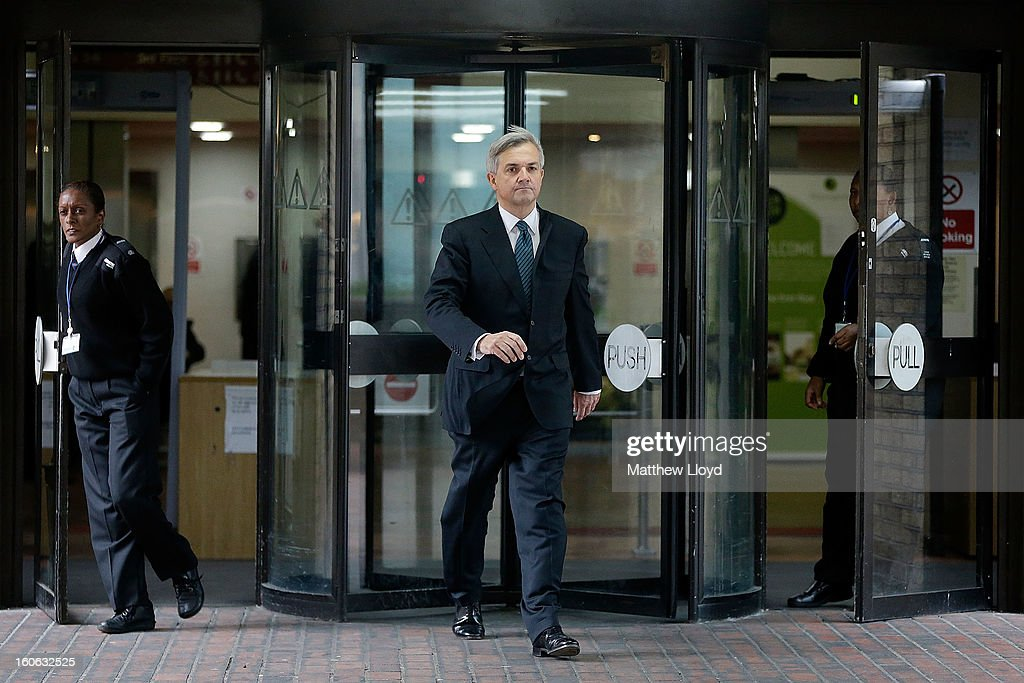 Former Cabinet Minister Chris Huhne leaves Southwark Crown Court on February 4, 2013 in London, England. Huhne, 58, and his ex-wife Vicky Pryce are on trial over allegations that Pryce, 60, took penalty points on her driving licence in 2003 so that he could avoid prosecution. Chris Huhne pleaded guilty to perverting the course of justice.