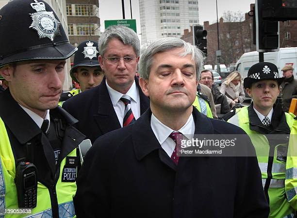 Former Cabinet Minister Chris Huhne leaves Westminster Magistrates Court on February 16 2012 in London England Mr Huhne and his former wife Vicky...