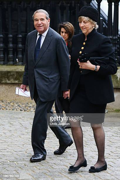 Former Cabinet minister Leon Brittan attends the Ceremonial funeral of former British Prime Minister Baroness Thatcher at St Paul's Cathedral on...