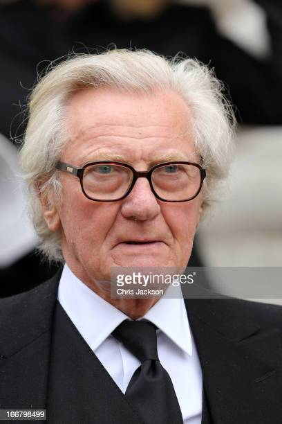 Former Cabinet Minister Lord Michael Heseltine leaves the Ceremonial funeral of former British Prime Minister Baroness Thatcher at St Paul's...