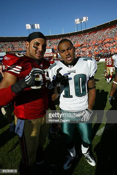 Former Cal Bears linebacker Tully BantaCain of the San Francisco 49ers with DeSean Jackson of the Philadelphia Eagles on Bill Walsh Field at...