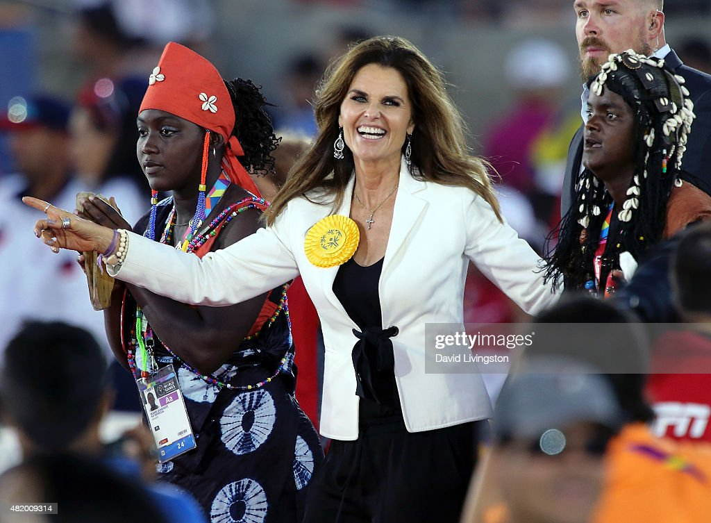 Former California first lady Maria Shriver enters the stadium with the Senegalese delegation at the opening ceremony of the Special Olympics World Games Los Angeles 2015 at the Los Angeles Memorial Coliseum on July 25, 2015 in Los Angeles, California.
