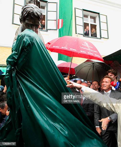 Former California Governor Arnold Schwarzenegger attends on October 7 2011 the unveiling of a statue during the opening of Arnold Schwarzenegger...