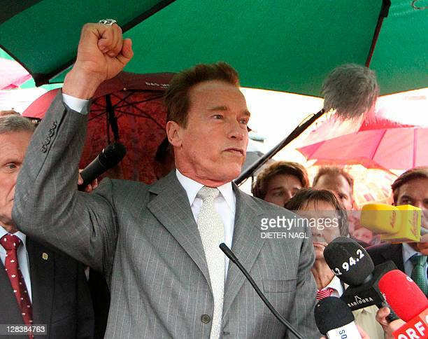 Former California Governor Arnold Schwarzenegger attends on October 7 2011 the opening of Arnold Schwarzenegger museum at a house where he spent his...